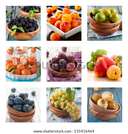 Collage with fresh sweet fruits and berry - stock photo