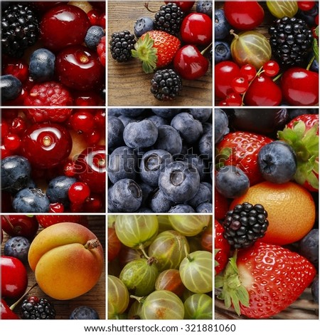 stock photo collage with fruits 321881060 - Каталог — Фотообои «Еда, фрукты, для кухни»