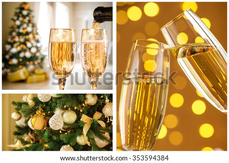 collage with gifts, champagne, toys and fir tree branches. Christmas collection