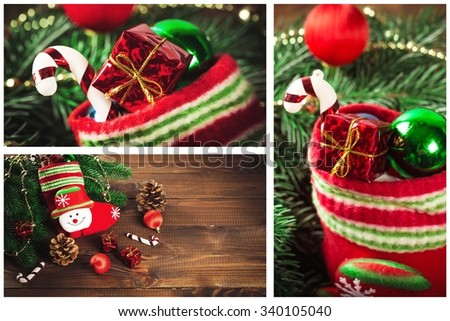 collage with gifts,toys and fir tree branches. Christmas collection