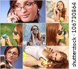collage with girls calling on the phone - stock photo
