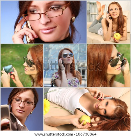 collage with girls calling on the phone