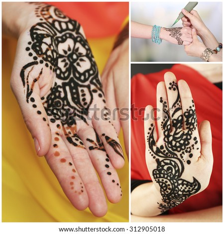 Collage with hands painted with henna