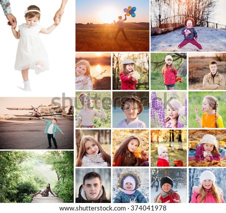 collage with happy children - stock photo