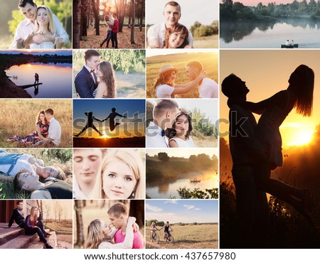 collage with happy couples