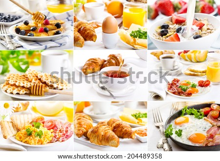 collage with healthy breakfast - stock photo