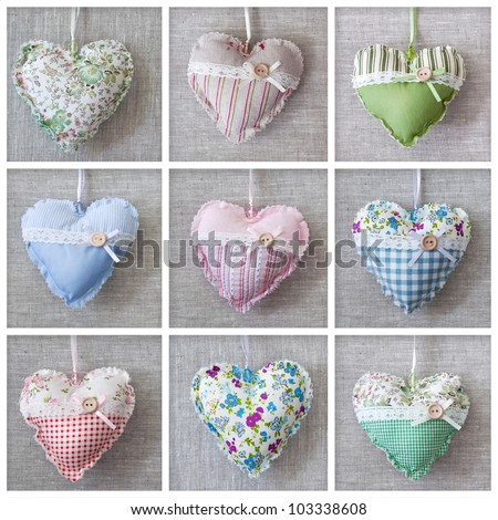 Collage with hearts over fabric - stock photo