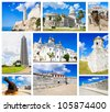 Collage with images of Havana including: the capitol, the revolution square and el morro fortress - stock photo