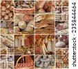 collage with italian regional meat victuals , images from farmers markets in Italy - stock photo