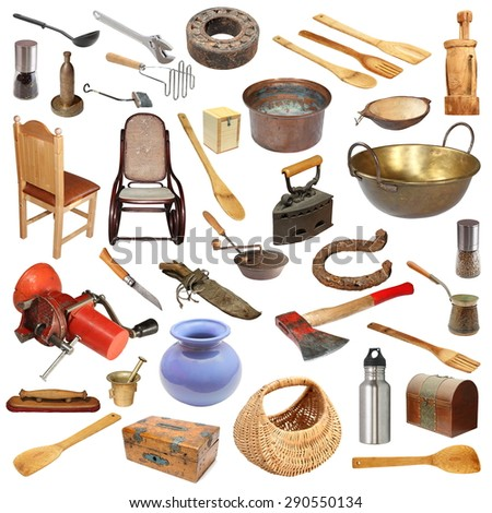 collage with large number of vintage objects isolated on white background, ready for your design - stock photo