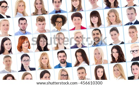 collage with many business people portraits over white background - stock photo