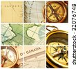 Collage with old compasses and maps - stock photo