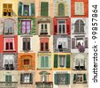 collage with old windows from Italy, Europe - stock photo