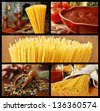 Collage with pasta theme - includes still life image taken in rustic kitchen, pasta sauce with  fresh tomatoes, spaghetti macro, herbs and spices, and bundled spaghetti with ingredients. - stock photo