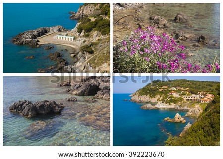 Collage with photos of Talamone sea in Tuscany, Italy - stock photo