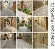 collage with picturesque nooks of italian village , Montefioralle, Tuscany, Italy, Europe - stock photo