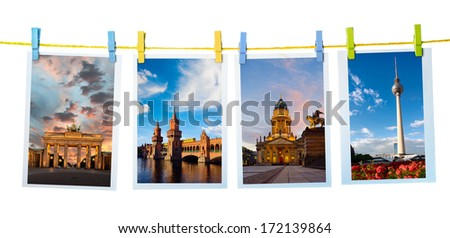 Collage with postcards of main Berlin landmarks on white background - stock photo