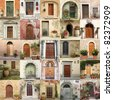 collage with retro doors in Italy - stock photo
