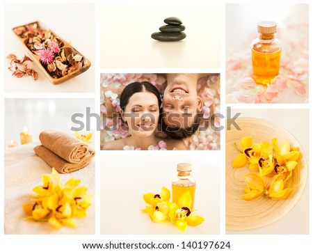 collage with romantic couple in spa and different still life images - stock photo