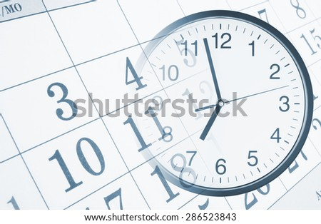 Collage with round clock and calendar page, time concept