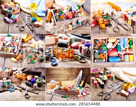 collage with sewing accessories : old scissors, buttons, threads on a wooden table - stock photo