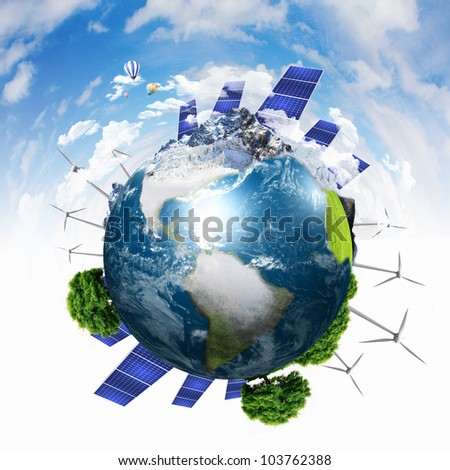 Collage with solar batteries as alternative source of energy - stock photo