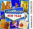 collage with some pictures and postcards with merry christmas and happy new year wishes and objects - stock photo