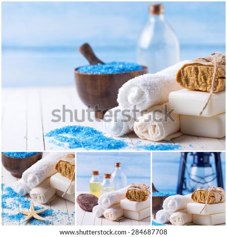 Collage with spa photos. Spa setting with soap, towels, sea salt on white  painted wooden boards. Selective focus. - stock photo