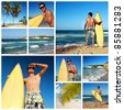 Collage with surfer with board on caribbean beach, Dominican Republic - stock photo