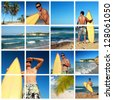 Collage with surfer with surf  on caribbean beach, Dominican Republic - stock photo