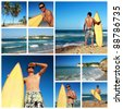 Collage with surfer with surfboard on caribbean beach, Dominican Republic - stock photo