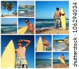 Collage with surfer with surfboard on tropical beach, Dominican Republic - stock photo