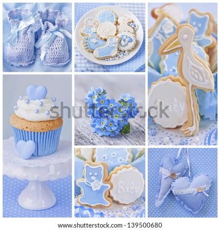 Collage with sweets and decoration for baby party - stock photo