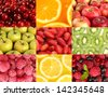 Collage with tasty  fruits - stock photo