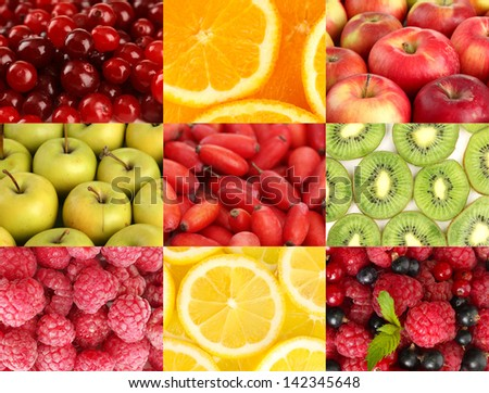 Collage with tasty  fruits