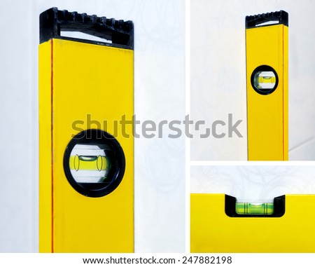 Collage with three yellow construction level - stock photo