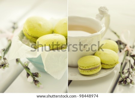 collage with traditional french macrons and tea set on the background - stock photo