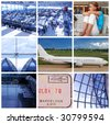 Collage with travel and transport concept - stock photo