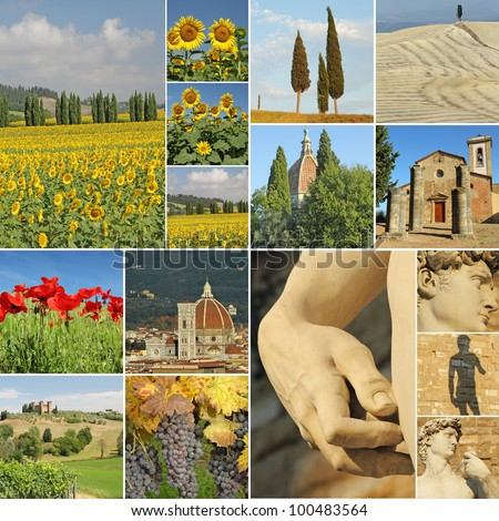 collage with tuscan attractions, Tuscany, Italy, Europe - stock photo