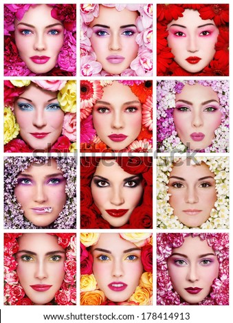 Collage with twelve portraits of beautiful healthy happy women with flowers around their faces. Beauty, make-up, organic cosmetics.