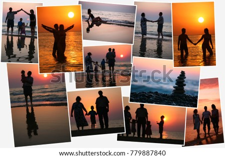Collage with twenty nine people (eight models) against background of sunset, silhouettes