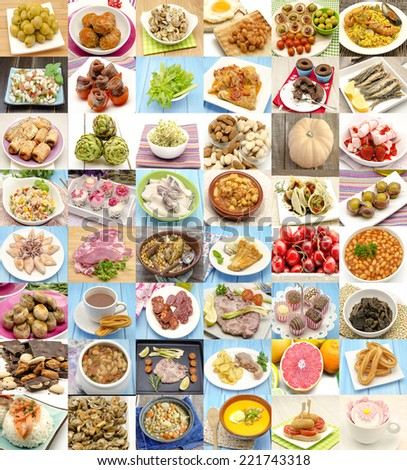 Collage with variety of food and dishes cooked - stock photo