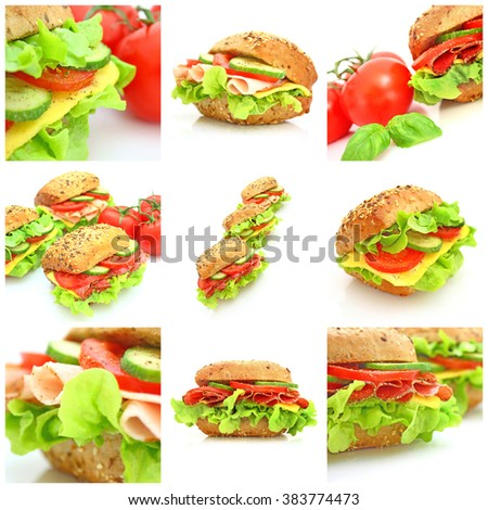 Collage with various fresh sandwiches