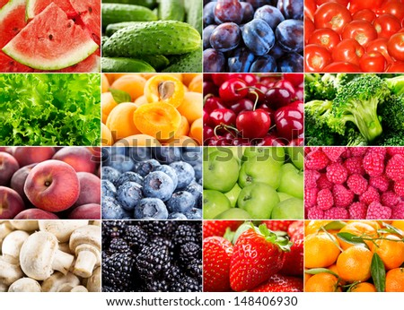 collage with various fruits, berries, herbs and vegetables