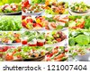 collage with various salad - stock photo