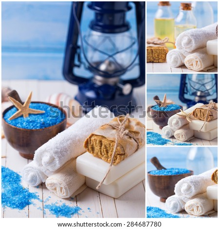 Collage with  wellness photos. Spa setting with soap, towels, sea salt on white  painted wooden boards. Selective focus. - stock photo