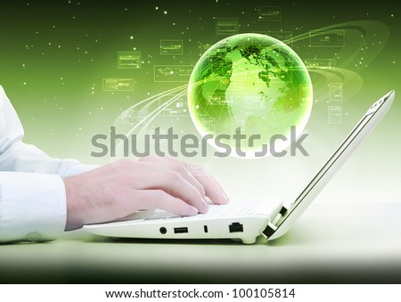 Collage with white laptop computers and symbols of communication - stock photo