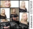Collage with woman in fur and pearls - stock photo