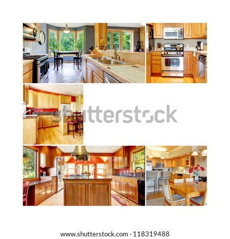 Collage with writing space with wood light color kitchen interior of different rooms. - stock photo