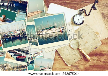 collage with yachts, boats, lighthouse and a coast. Nautical concept  - stock photo